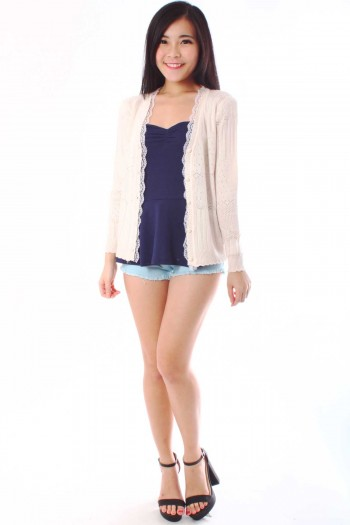 Lace Trim Knit Cardigan