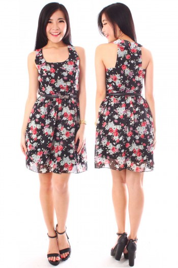Floral Cut-In Skater Dress