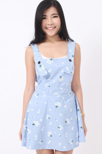 Daisy Print Pinafore Dress