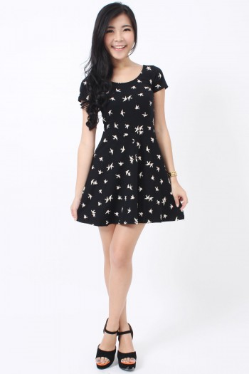 Swallows Print Skater Dress
