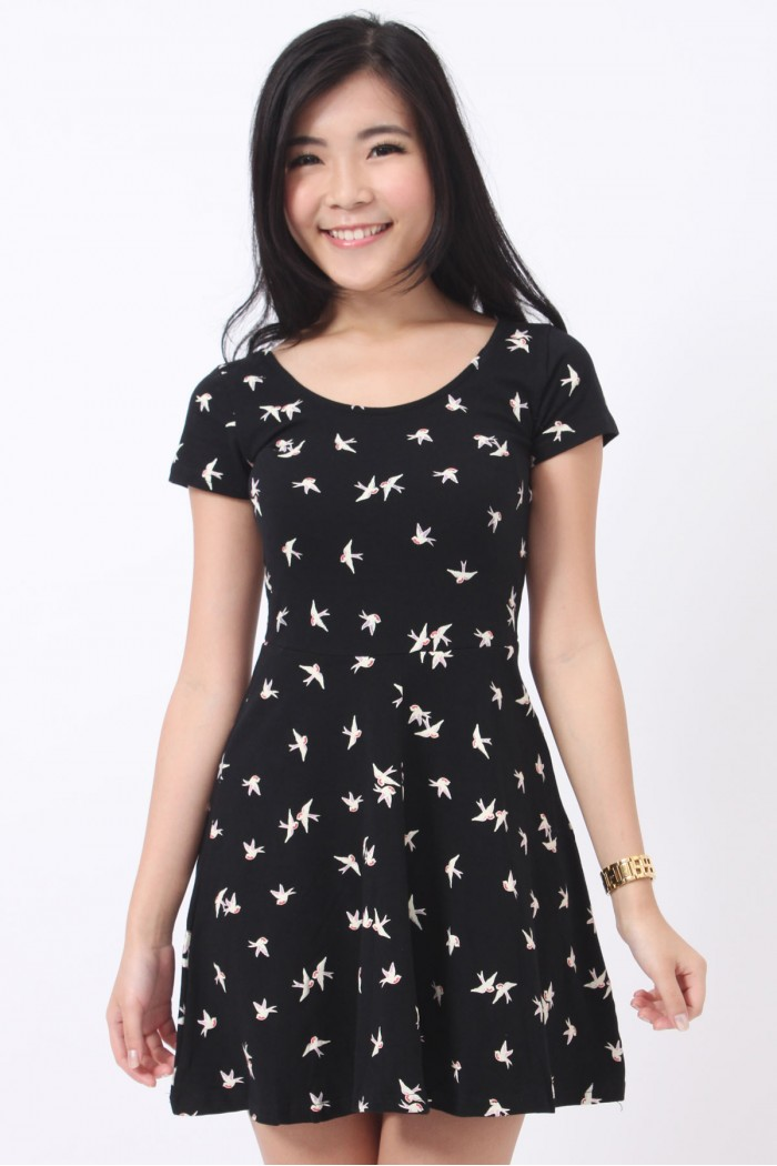 Swallows Print Skater Dress - The Label Junkie