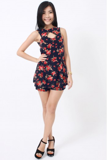 Cut-Out Floral Peplum Romper