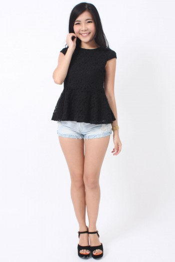 Cap-Sleeve Lace Peplum Top