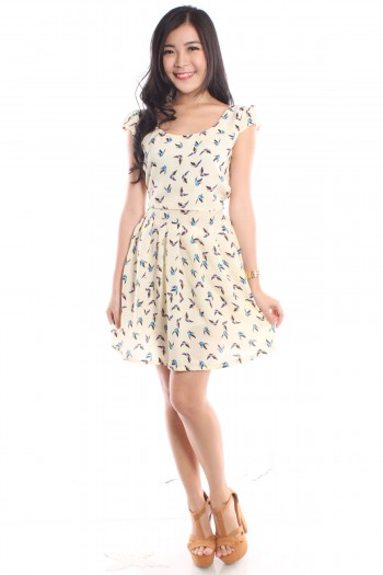 Swallows Print Pleated Dress
