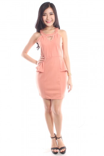 Pearl Lined Keyhole Dress