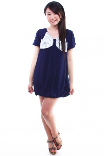Bow Bubble Hem Dress