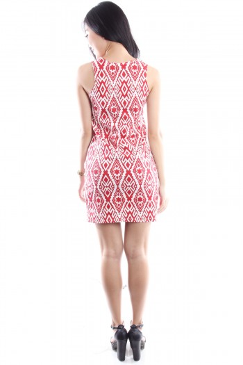 Cut-In Baroque Printed Dress