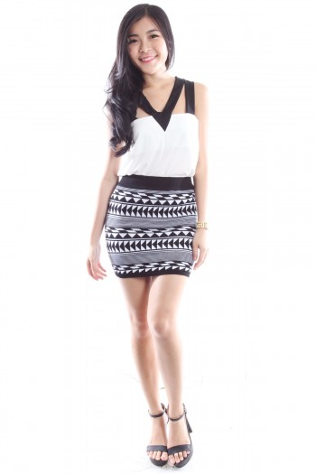 Aztec Knitted Bandage Skirt
