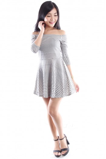 Checkered Off Shoulder Dress