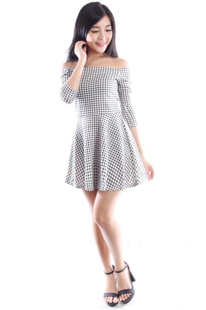 33da426091 Checkered Off Shoulder Dress - The Label Junkie