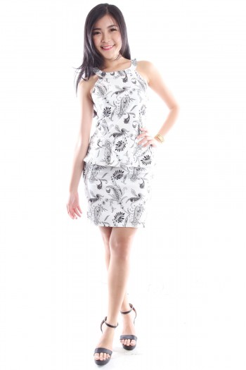 Paisley Print Peplum Dress