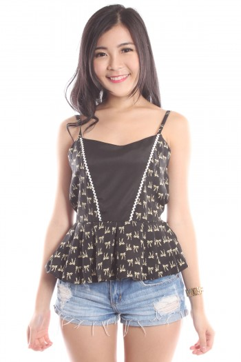 Bow Print Peplum Top