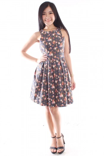 Cut-In Floral Skater Dress