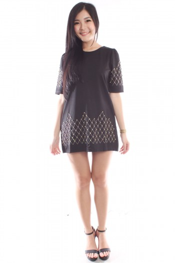 Embellished Mini Shift Dress