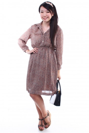 Vintage - Printed Long sleeves Dress