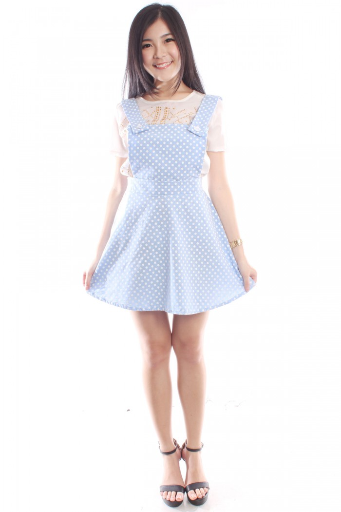 77c5701338 Polka Dot Overalls Dress The Label Junkie