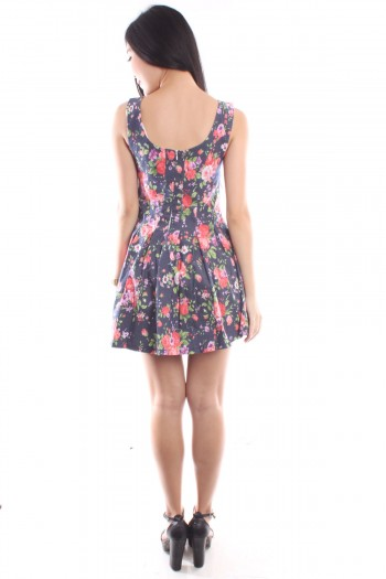 Floral Pleated Skater Dress