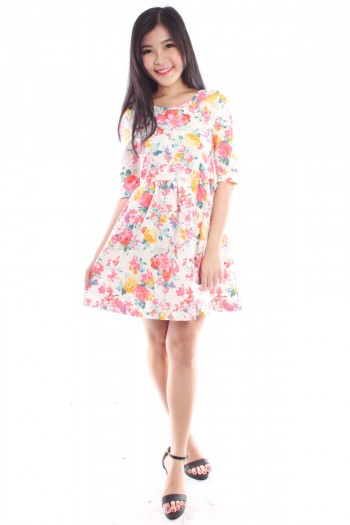 Half Sleeve Floral Skater Dress