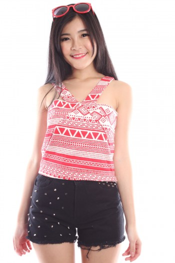 Aztec V-neck Top