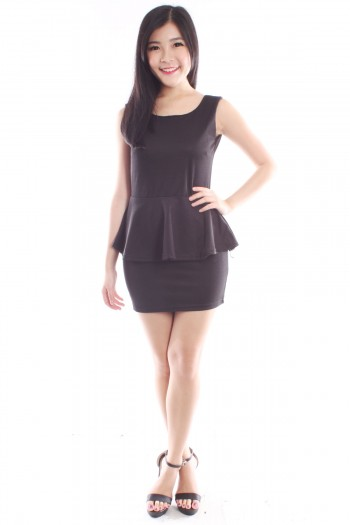 Low Bow Back Peplum Dress