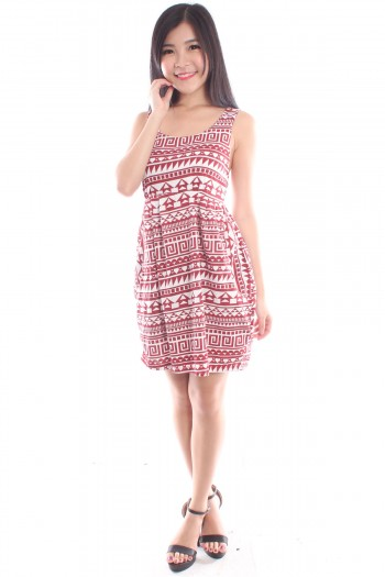 Aztec Tribal Pleated Dress