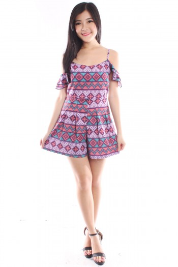 Slit Sleeves Tribal Romper