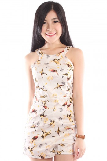 Cut-In Sparrow Print Romper