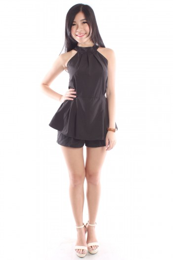 Cut-In Peplum Romper