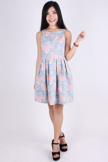 TLJ Cut-In Floral Skater Dress