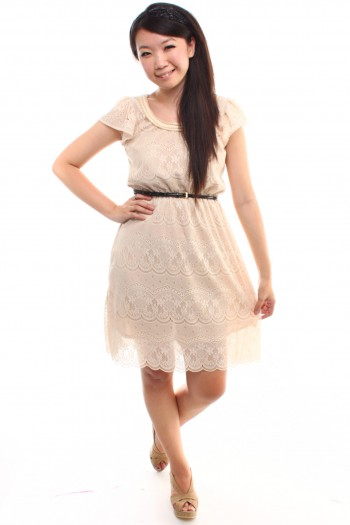 Lace Scallop Hem Dress