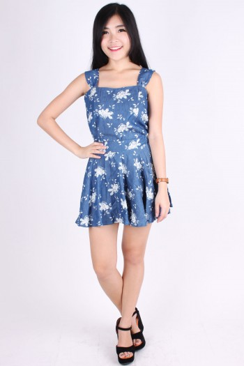 2-Piece Denim Floral Dress