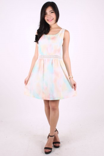 Pastel Watercolour Crochet Trim Dress