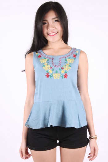 Embroidered Peplum Denim Top