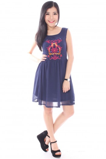 Embroidered Chiffon Skater Dress