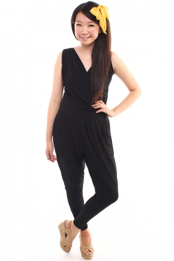 Pleated V-neck Jumpsuit