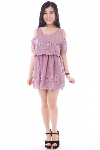 Slit Sleeves Eyelet Dress
