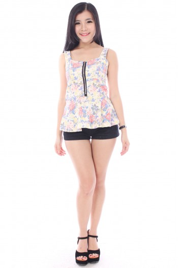 Floral Zipper Peplum Top