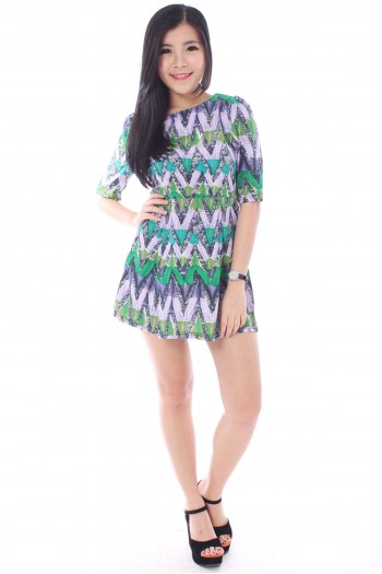 Abstract Zig-Zag Shift Dress