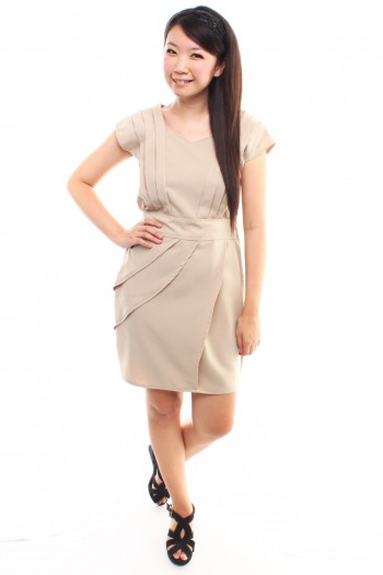 Pleated Work Dress
