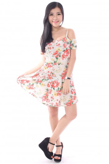Floral Slit Sleeves Dress