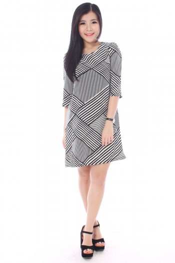 Striped Abstract Shift Dress