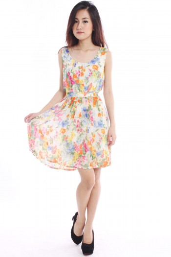 Floral Watercolour Pleated Dress
