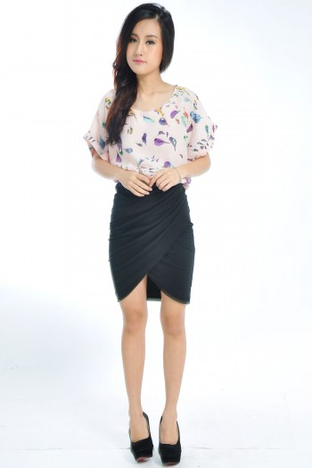 Pleated Tulip Wrap Skirt