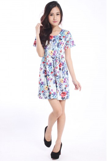 Floral Watercolour Babydoll Dress