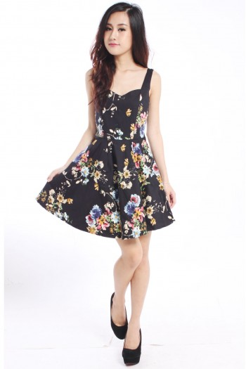 Sweetheart Floral Skater Dress