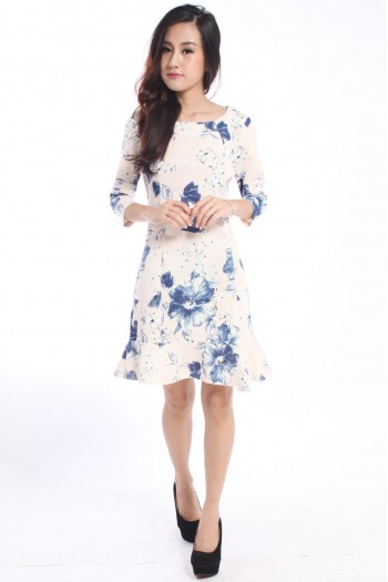 Zara-Inspired Floral Trumpet Dress