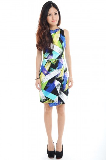 *Premium* Abstract Zip Dress