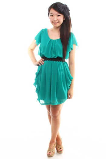 Fluttersleeves Draped Dress