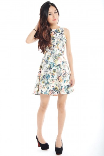 Cut-Out Floral Skater Dress