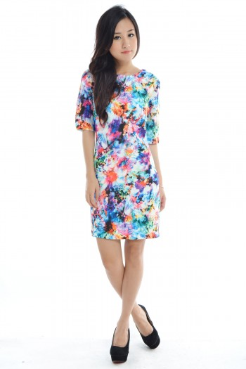 Abstract Watercolour Shift Dress
